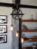 Pulley & Mason Jar Suspended Lamp - Unique Wood & Iron