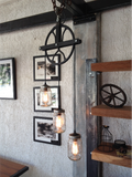 Pulley & Mason Jar Suspended Lamp