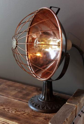 Rustic Industrial Copper heater Lamp - Unique Wood & Iron
