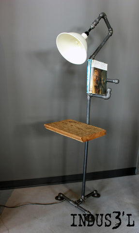 Rustic Industrial Pipe Floor Lamp - Unique Wood & Iron
