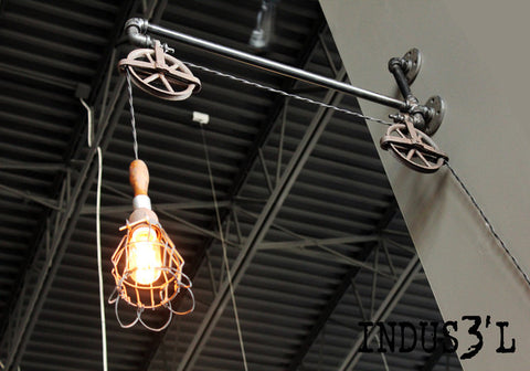 Rustic Industrial Pipe & Pulley Wall Lamp with Work Light - Unique Wood & Iron
