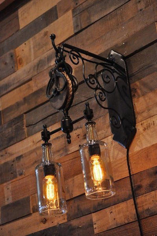 Rustic Chic Pulley Wall Lamp with Bottles - Unique Wood & Iron