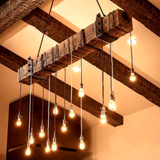 Reclaimed Wood Beam Chandelier with Iron brackets - Unique Wood & Iron