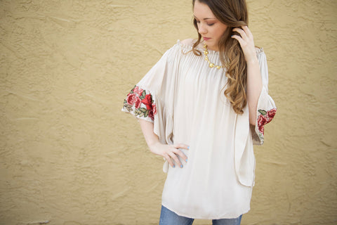 Red Rosy Sleeve Tunic