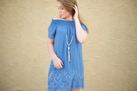 Blue Dotted Swiss Peasant Dress