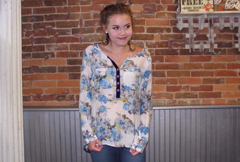 Blue Coral Quarter Sleeve Top