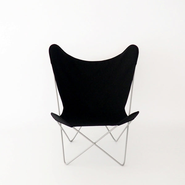 Butterfly Chair Black Cover on Pebble Frame