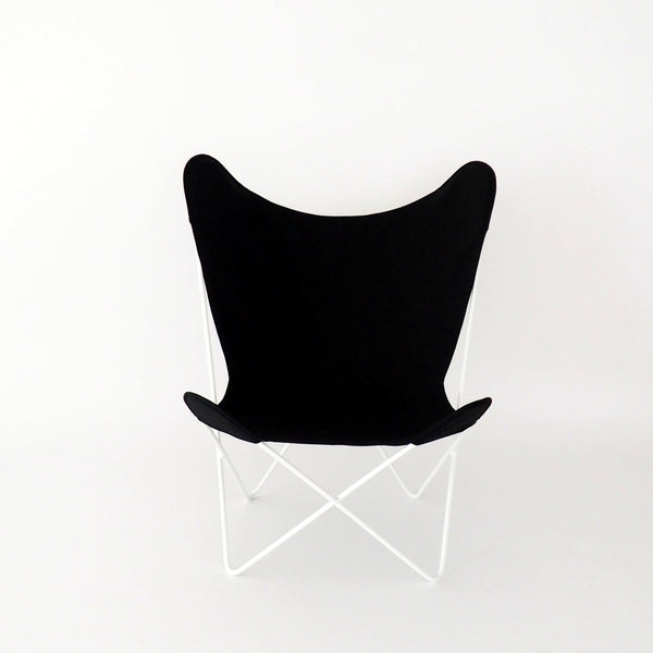 Butterfly Chair Black Cover on White Frame