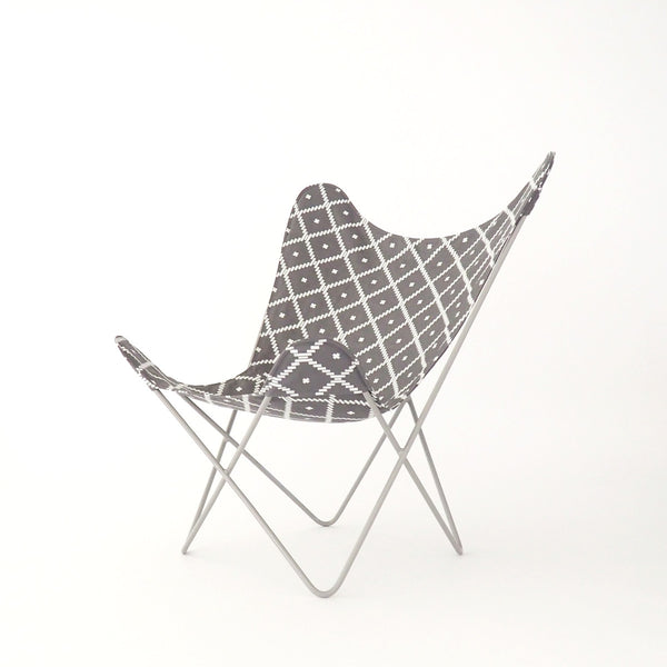 Butterfly Chair Geo Charcoal Cover on Pebble Frame