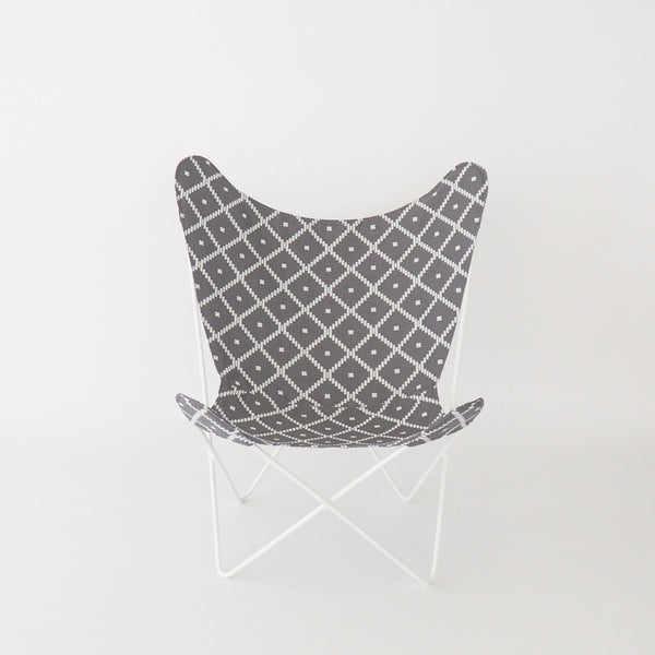 Butterfly Chair Geo Charcoal Cover on White Frame