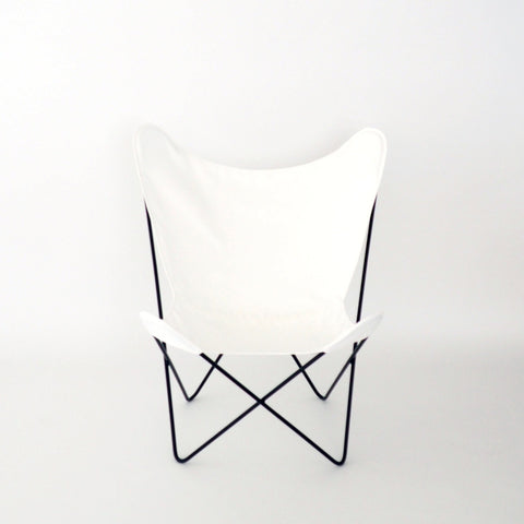 Butterfly Chair White Cover on Black Frame