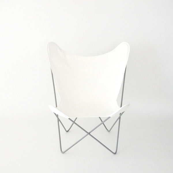 Butterfly Chair White Cover on Pebble Frame