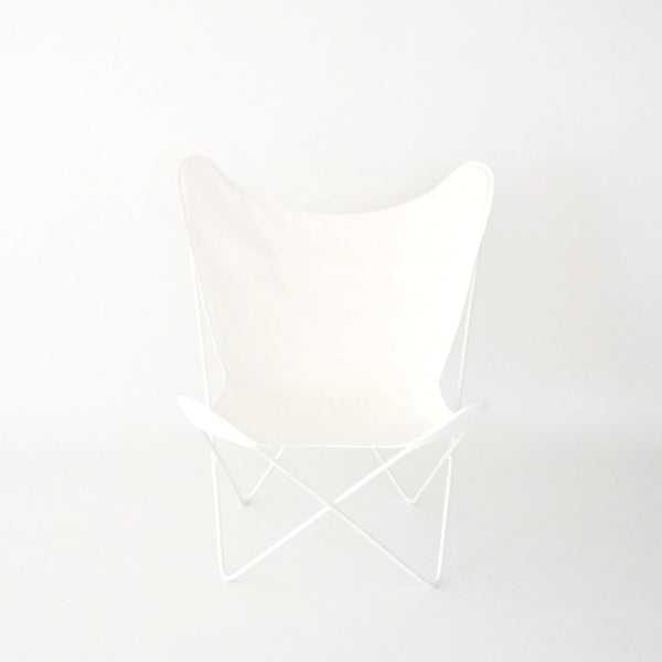 Butterfly Chair White Cover on White Frame