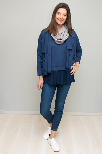 navy short cardigan
