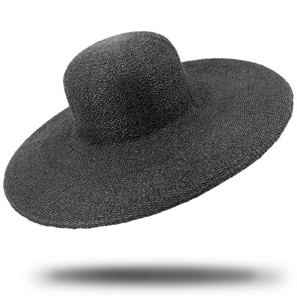 black wide brim plain hat