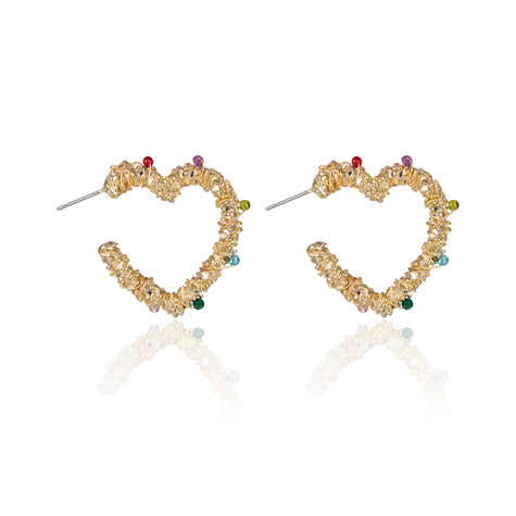costume jewellery. Gold heart earrings