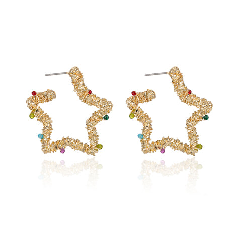 gold star earrings, festival jewellery