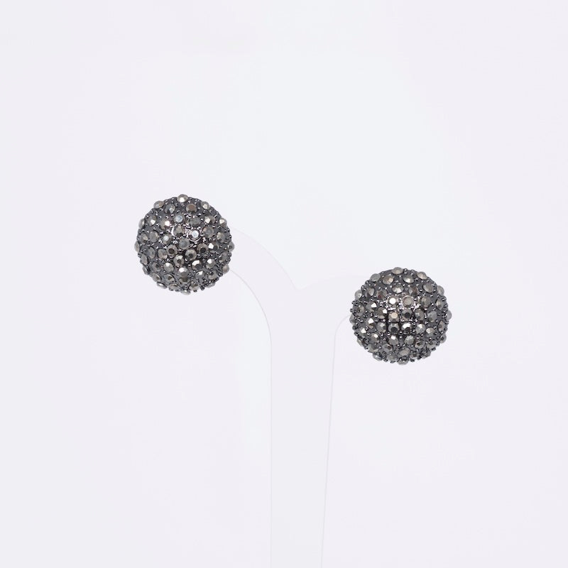 hematite pave dome earrings