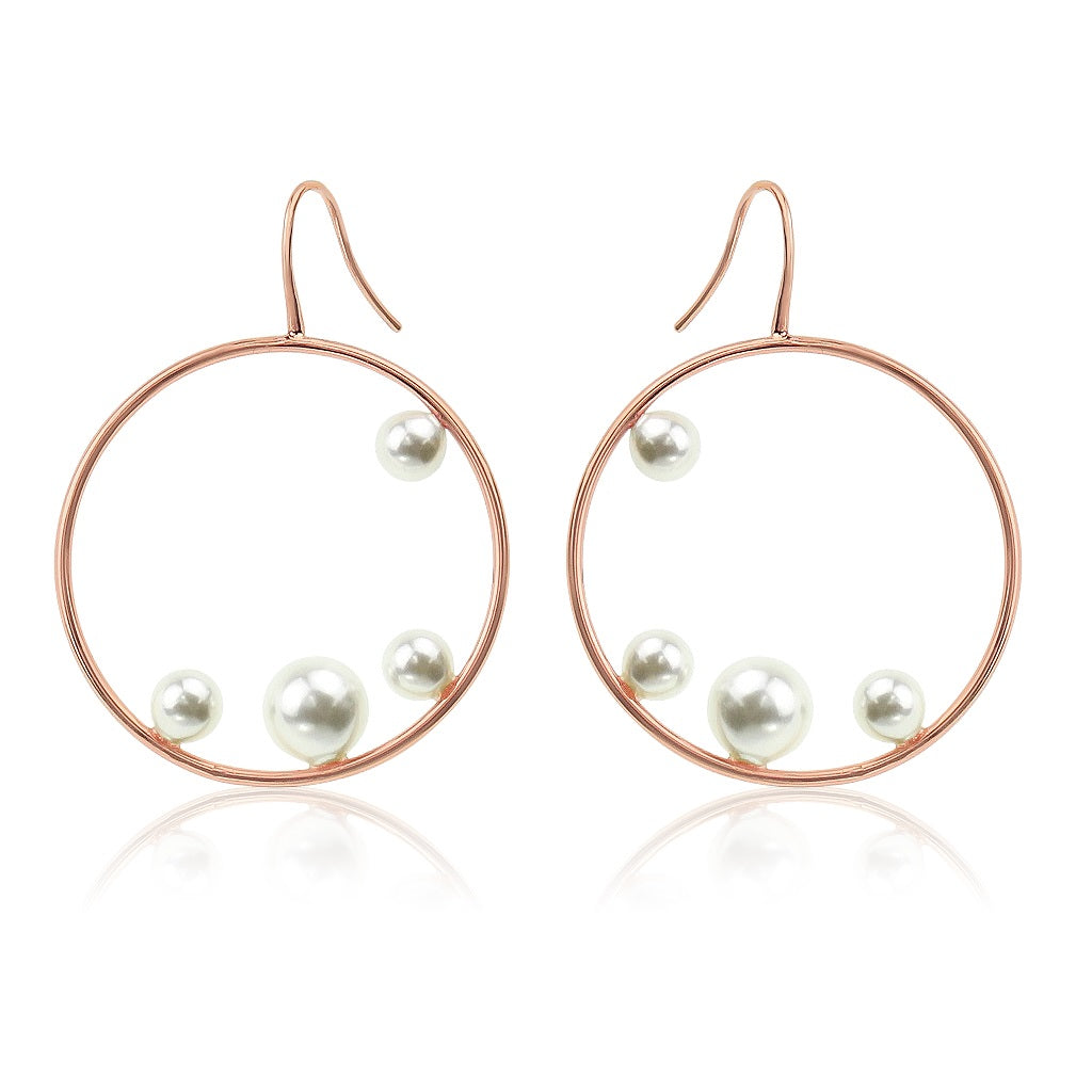 rose gold pearl hoops