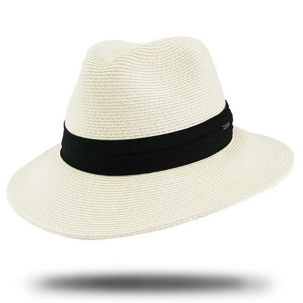 ivory fedora with black band