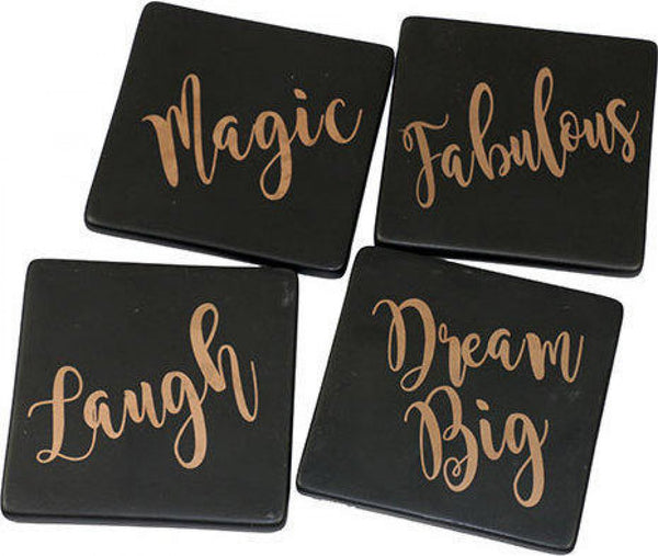 Lavida - Gold Words Coasters