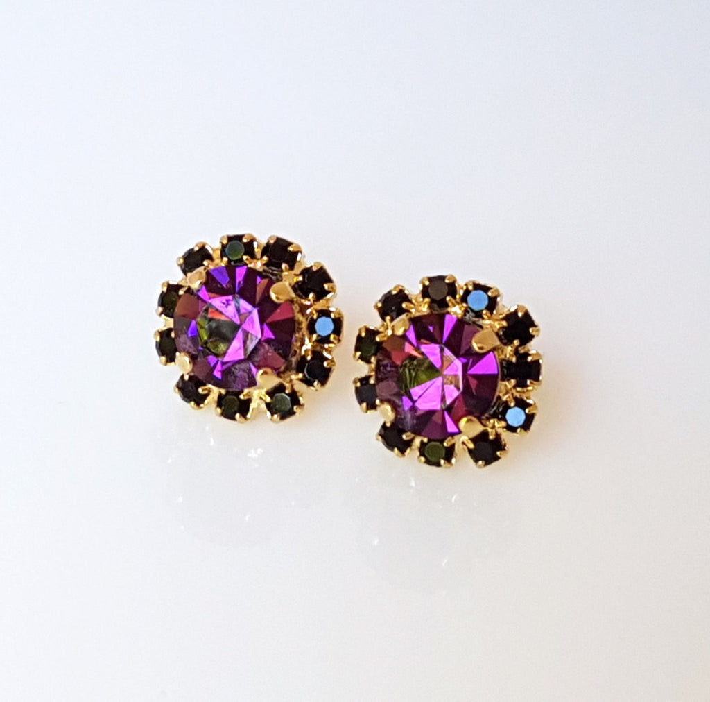 gold cb beau in velvet swarovski clara earrings drop crystal purple prpvelt