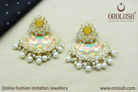 Orolush Designer Yellow Stone Ethnic Earrings for women