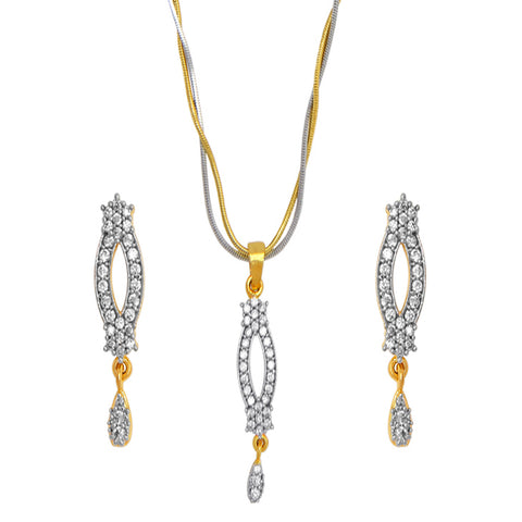 Blend of Gold and Silver plated Chain , Diamond studded pendant and earrings for Women.