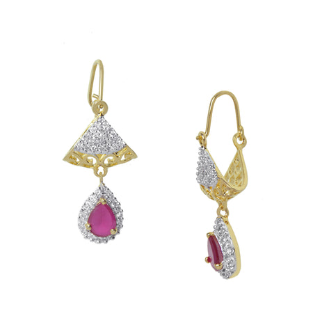 Diamond and Ruby studded Hoop Earrings Total Charmer for women