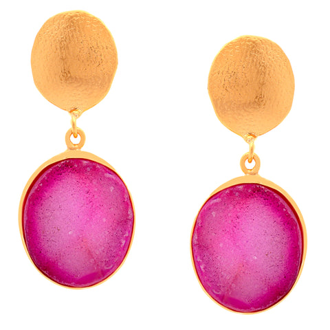 Natural Purple  Sugar Druzy stone Dangler's for women.