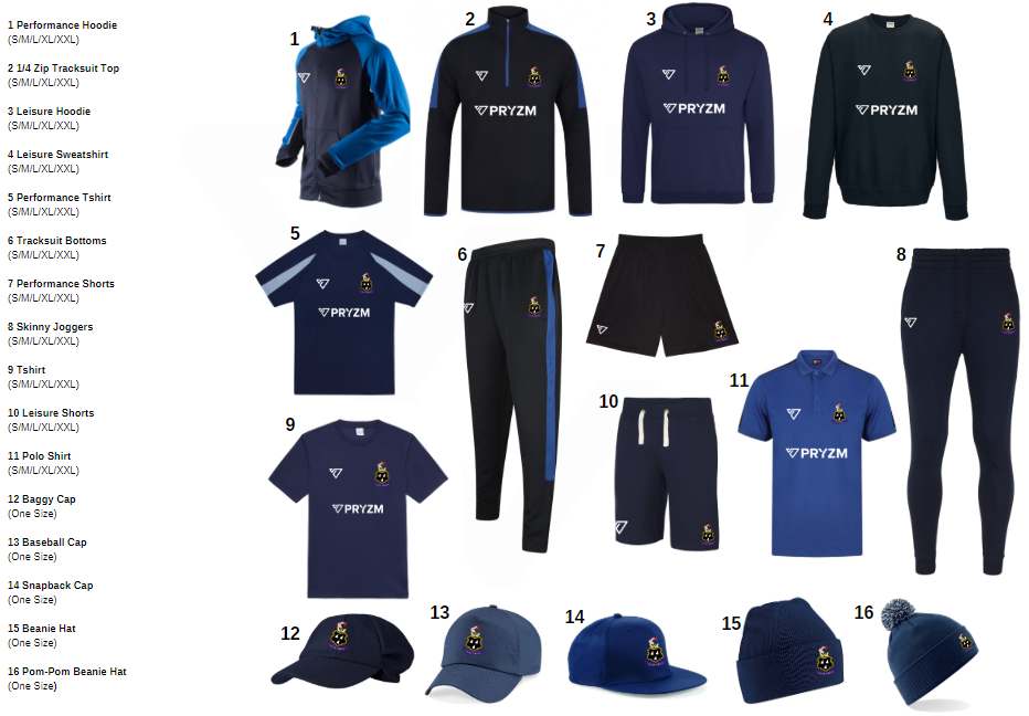 PRYZM Cricket Club Team and Leisure wear