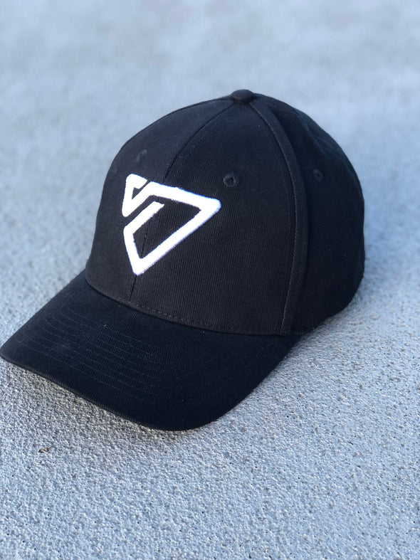 3D Logo Strech-Fit Baseball Cap Black/White