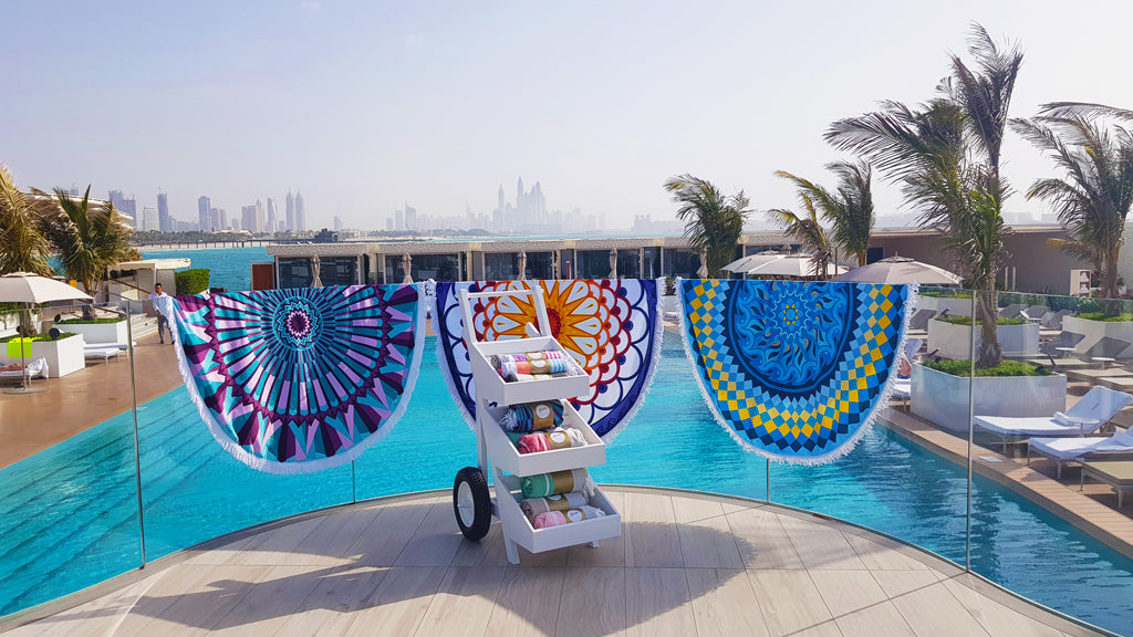 Burj Al Arab round towels and trolley designed by Koala Collection