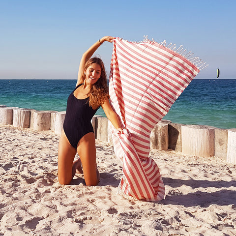 Hello Sailor / Red - Koala Handloomed Beach Towels Dubai