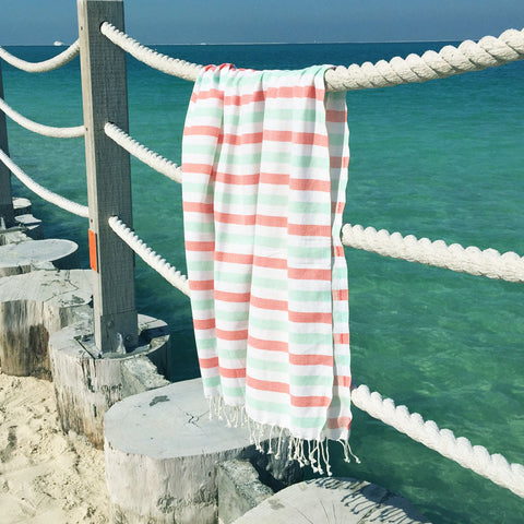 Neptune / Peach Mint - Koala Handloomed Beach Towels Dubai