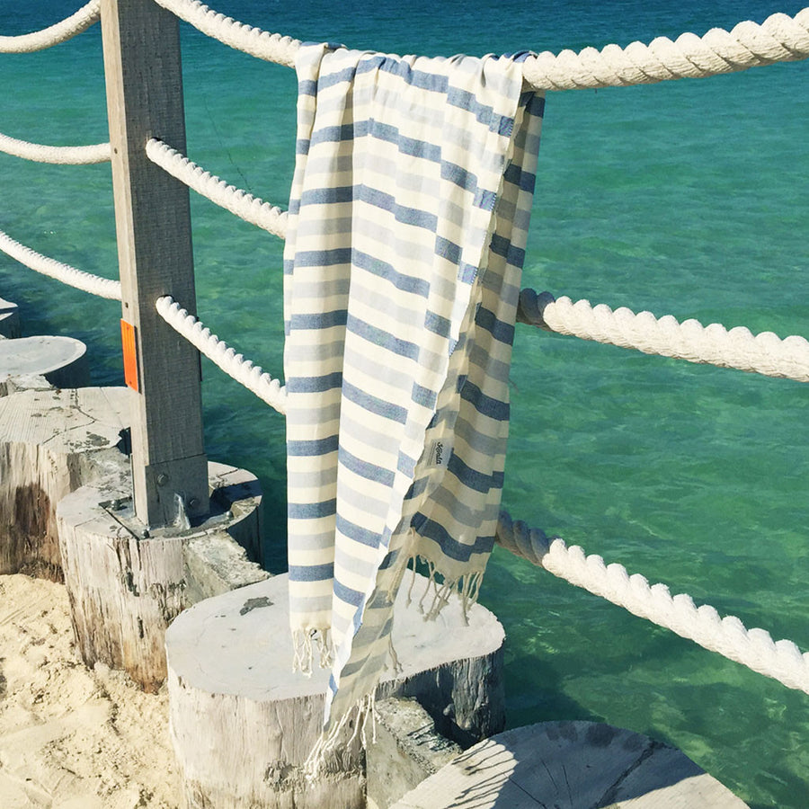 Neptune / Navy Grey - Koala Handloomed Beach Towels Dubai