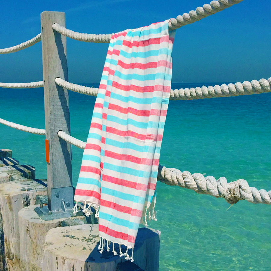 Neptune / Coral Blue - Koala Handloomed Beach Towels Dubai