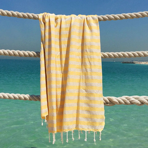 Hello Sailor / Yellow - Koala Handloomed Beach Towels Dubai