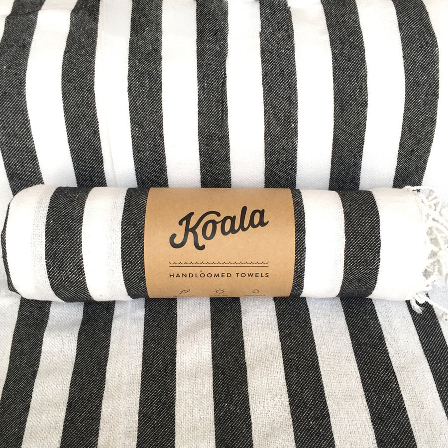 Hello Sailor / Black & White - Koala Handloomed Beach Towels Dubai