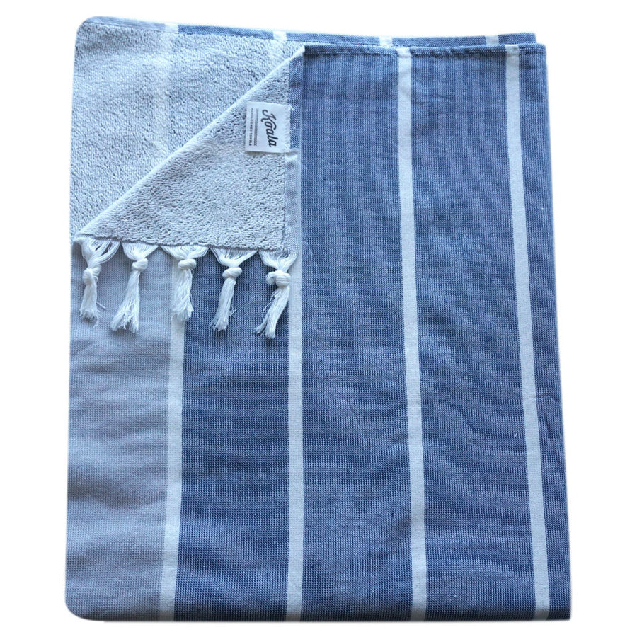Terry / Navy Pinstripe - Koala Handloomed Beach Towels Dubai