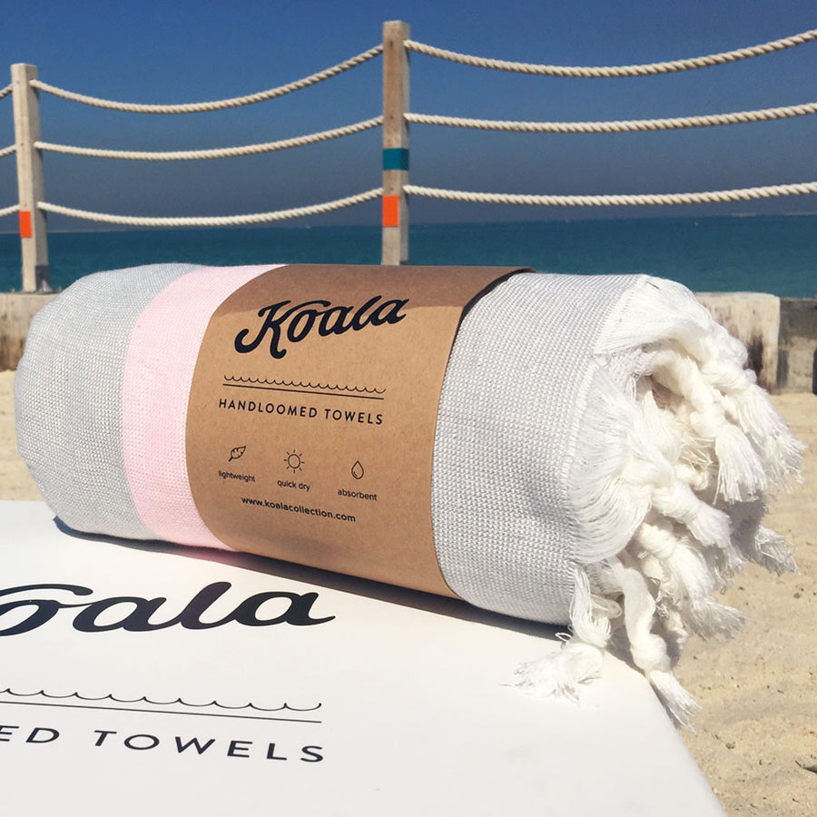Terry / Pink & Grey - Koala Handloomed Beach Towels Dubai