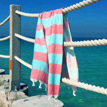 Terry / Coral & Blue - Koala Handloomed Beach Towels Dubai