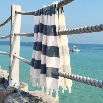 Terry / Black & White - Koala Handloomed Beach Towels Dubai