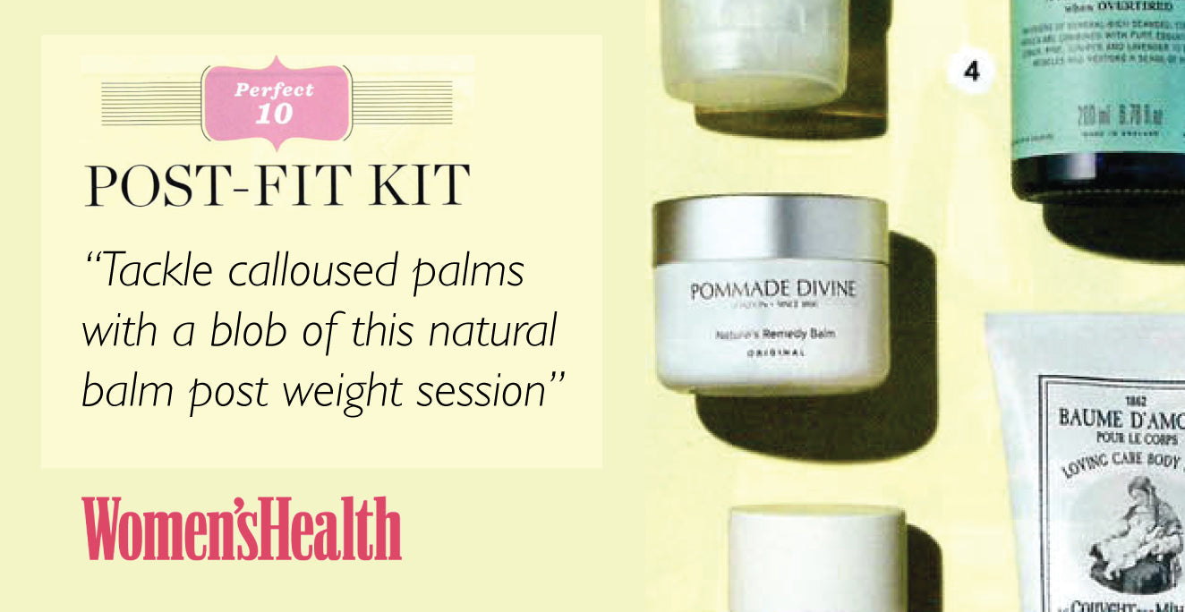 Tackle calloused palms with a blob of this natural balm post weights session.