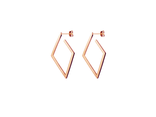 Rhombus Earrings - Rosegold (Matt/Shiny)