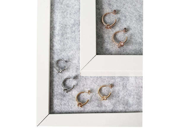 Small Knot Earrings - Rosegold