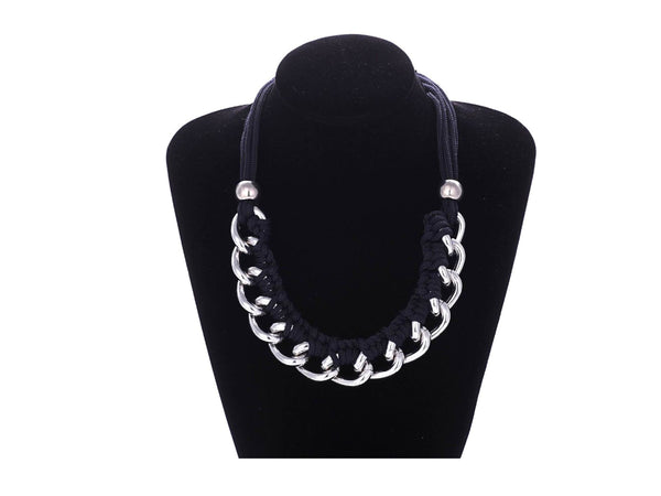 Weaved Chain Necklace - Navy Blue/Silver - themultistorey.co