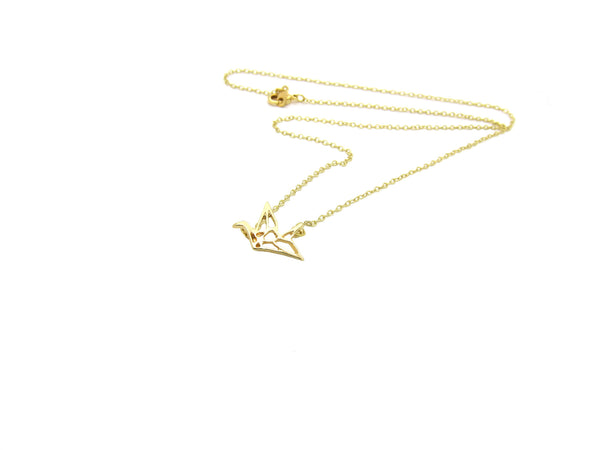Origami Crane Necklace - Gold - themultistorey.co
