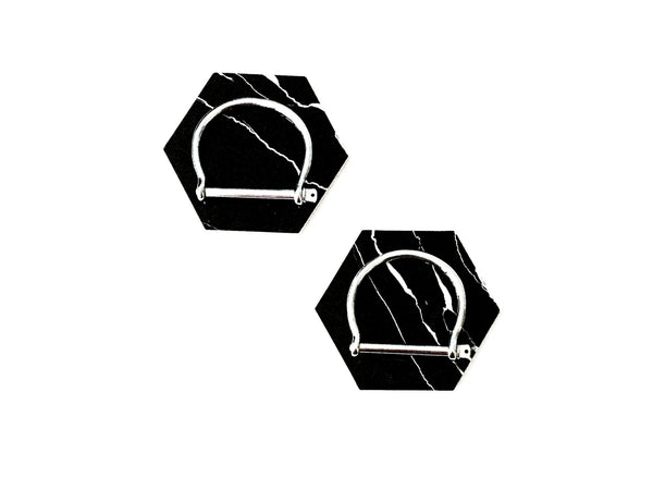 Black Marble Design Octagon Coaster (set of 2) - themultistorey.co