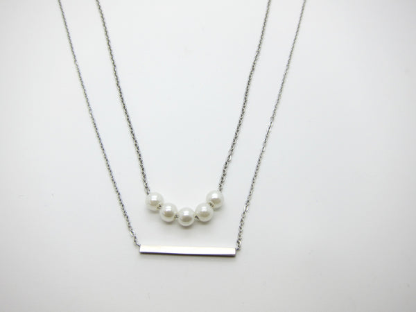 Sera Pearls Layered Necklace - Silver - themultistorey.co